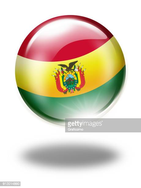 Bolivia button with bolivian flag isolated on white