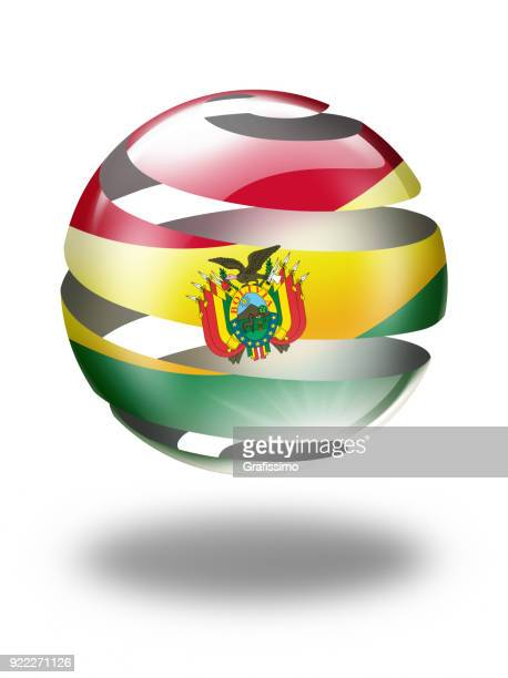 Bolivia sphere with bolivian flag isolated on white