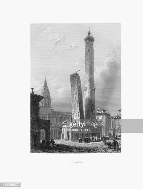 bologna, italy victorian engraving - bologna stock illustrations, clip art, cartoons, & icons
