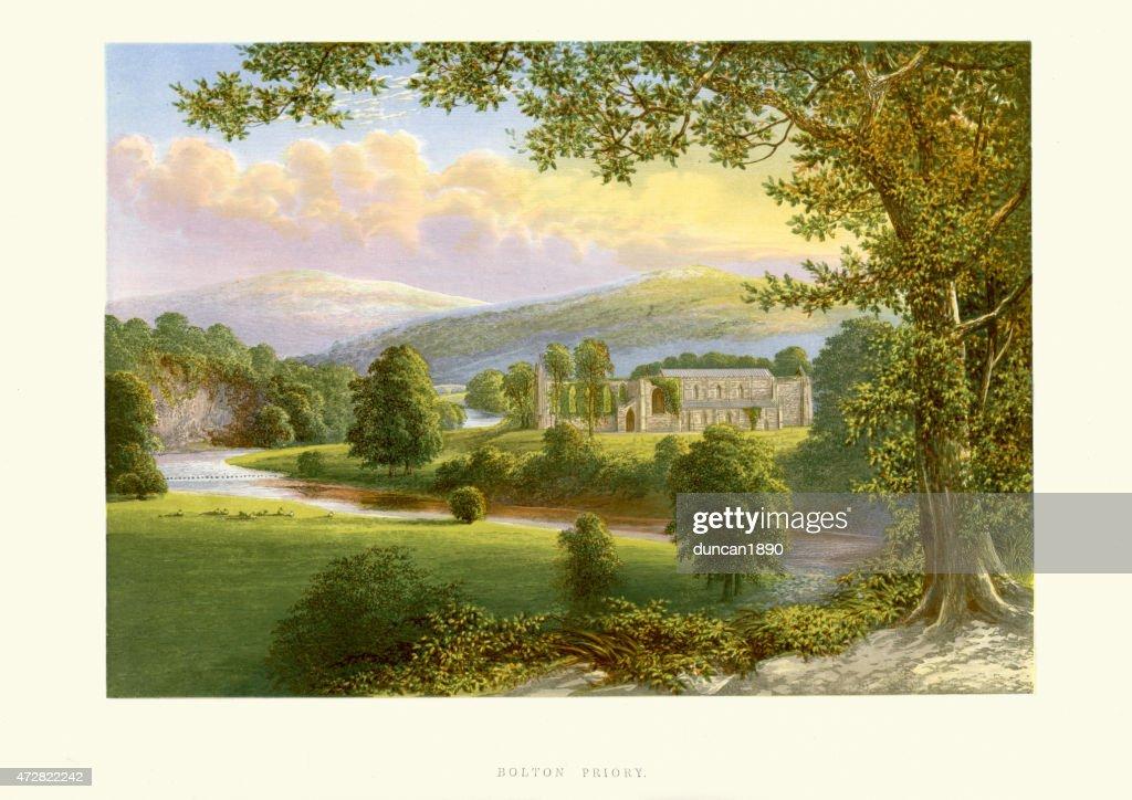 Bolton Abbey, Yorkshire, England : stock illustration