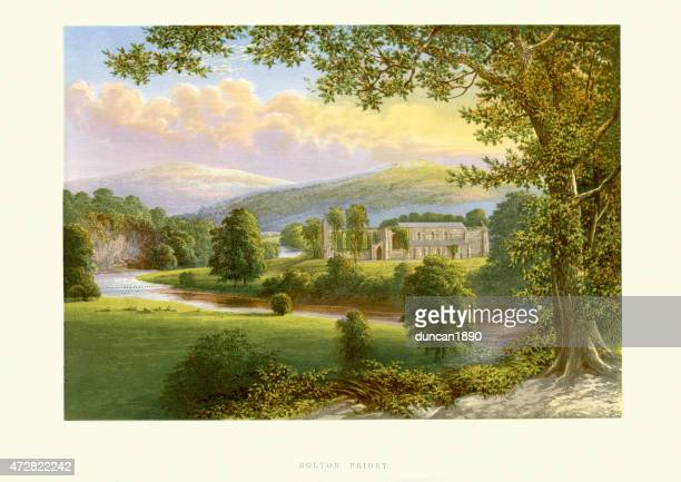 bolton abbey, yorkshire, england - natural parkland stock illustrations, clip art, cartoons, & icons