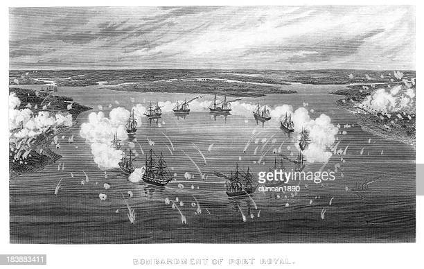 bombardment of port royal - us navy stock illustrations, clip art, cartoons, & icons