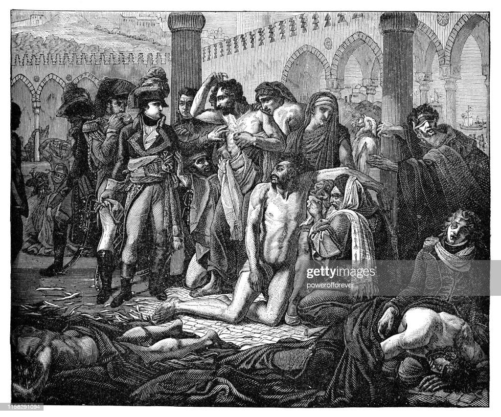 ボナパルト、アントウィーヌ・ジャン・グロスによるヤッファの疫病被災地を訪問 - 19世紀 : ストックイラストレーション