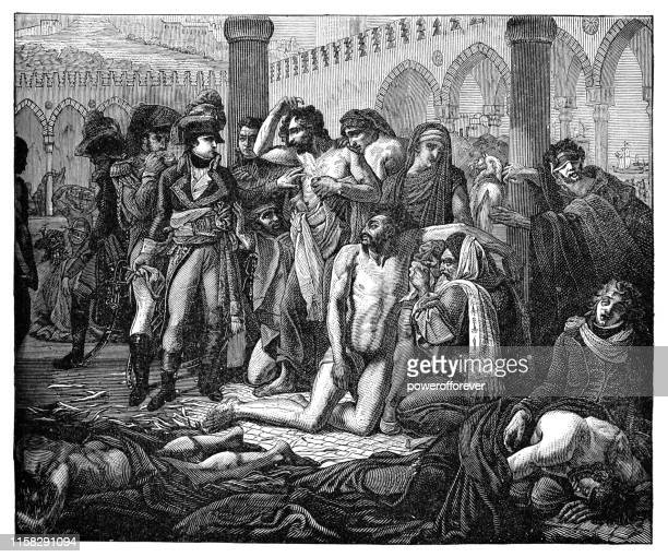 illustrazioni stock, clip art, cartoni animati e icone di tendenza di bonaparte visits the plague stricken in jaffa by antoine-jean gros - 19th century - epidemia