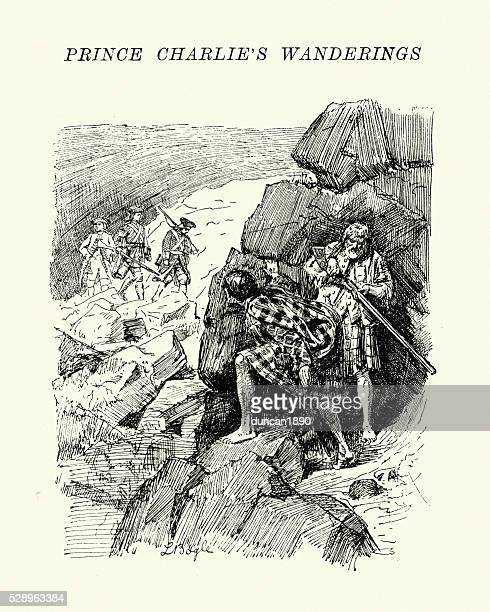 bonnie prince charlie hiding from english soldiers - guerrilla warfare stock illustrations
