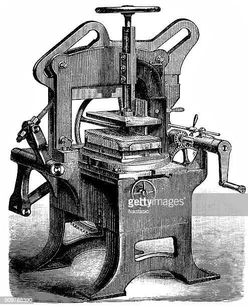 book production, printing press, typography - printing press stock illustrations