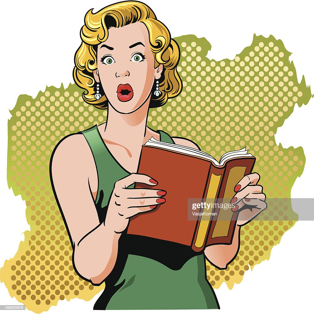 Book Reading Vintage Woman with Surprised Look : stock illustration
