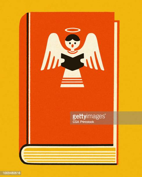 stockillustraties, clipart, cartoons en iconen met boek met engel op de cover - christendom