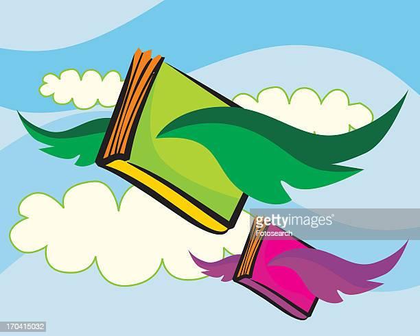 ilustraciones, imágenes clip art, dibujos animados e iconos de stock de books flying in the cloudy sky - libros volando