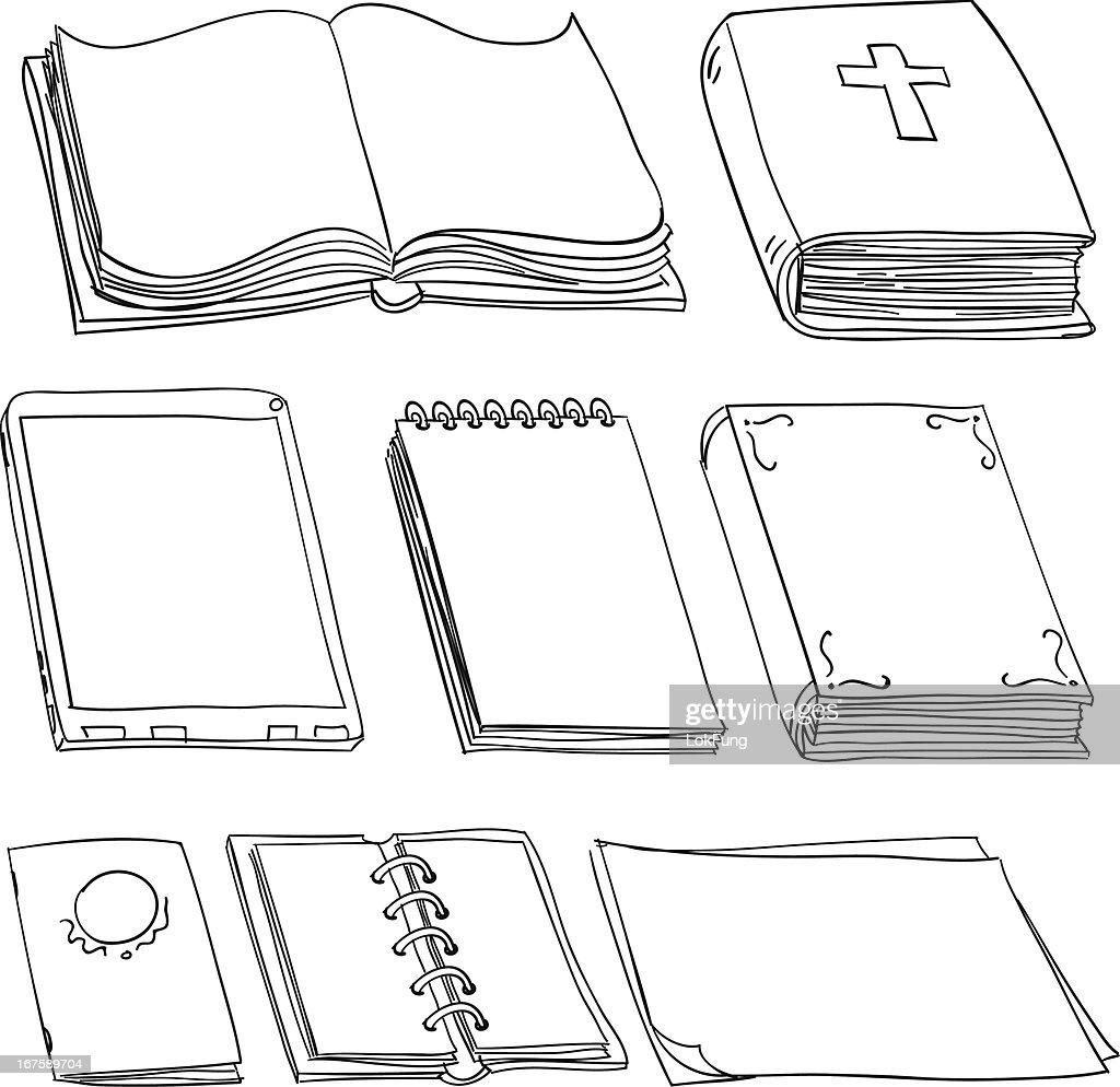 Books in black and white : stock illustration