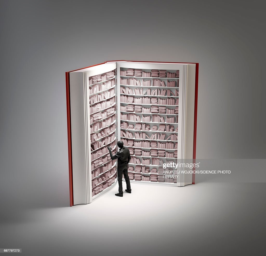 Bookshelves in book with human figure : Stock Illustration