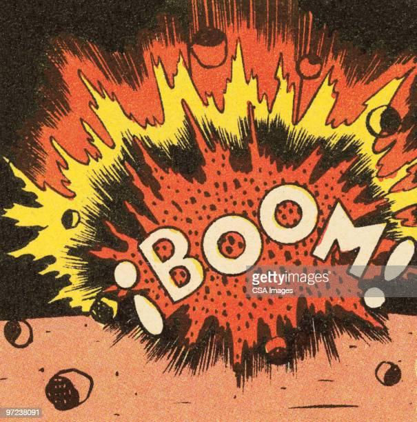 boom! - vertical stock illustrations