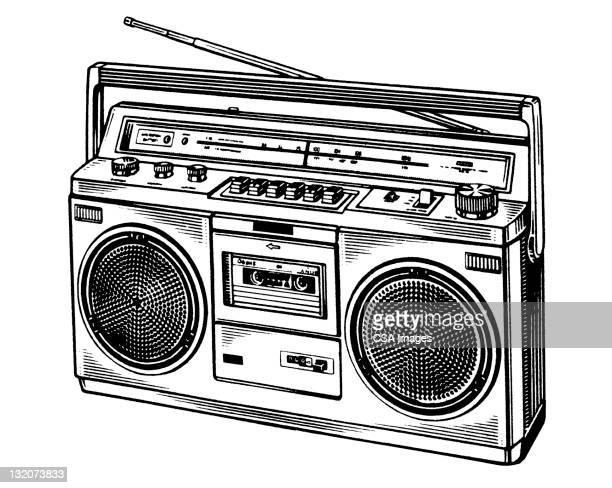 illustrazioni stock, clip art, cartoni animati e icone di tendenza di boombox - hi fi