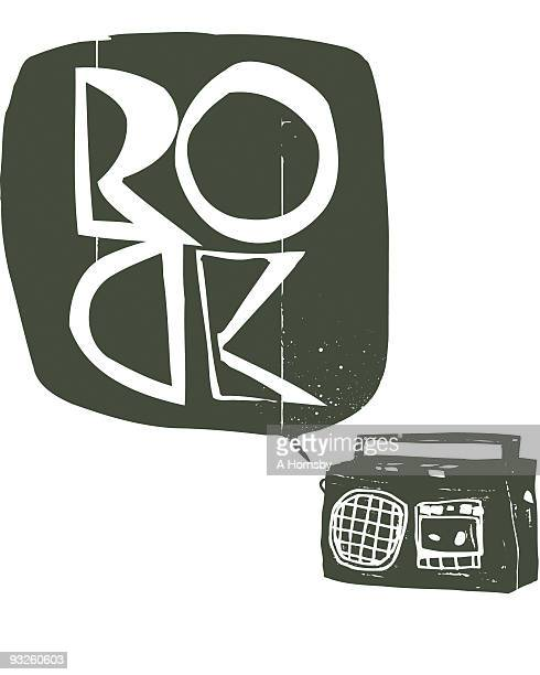boombox rock - thought bubble stock illustrations