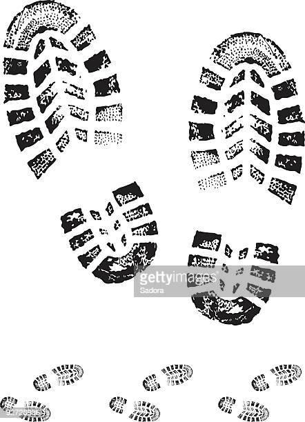illustrations, cliparts, dessins animés et icônes de chaussure imprimé - empreinte de pas