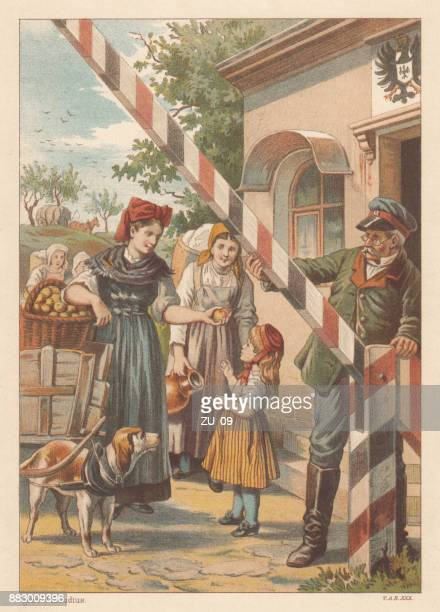 Border control, nostalgic scene from the past, lithograph, published 1884