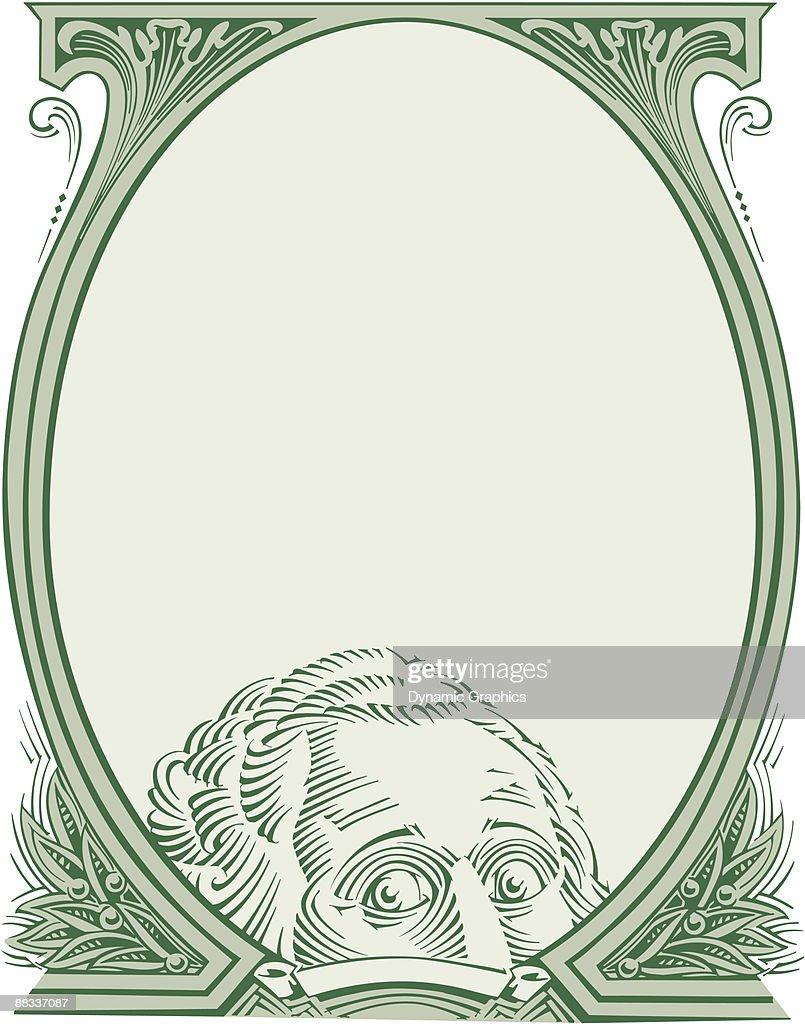 Border George Washington Peering Through Dollar Bill Oval Color ...