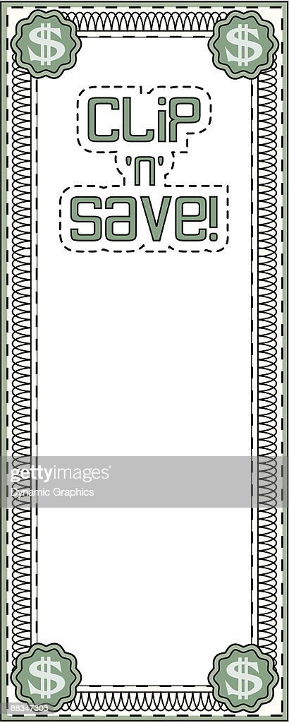 Border Heading Clip N Save Coupon Frame Money Color Vector Art ...
