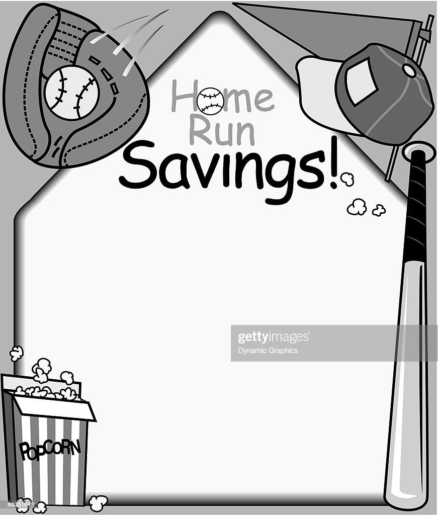 Border Heading Home Run Savings Baseball Frame Grayscale Vector Art ...