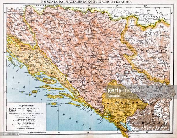 bosnia and montenegro map 1893 - montenegro stock illustrations, clip art, cartoons, & icons