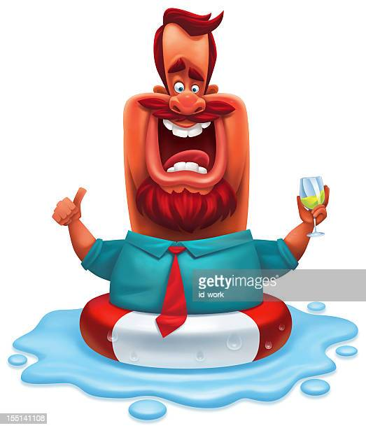 boss cheering with life buoy - floating on water stock illustrations