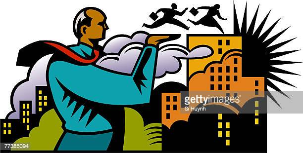 a boss helping his employees get to the top of a building - women's track stock illustrations, clip art, cartoons, & icons