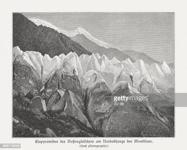 bossons glacier, mont blanc, french alps, wood engraving, published 1897 - mont blanc stock illustrations, clip art, cartoons, & icons