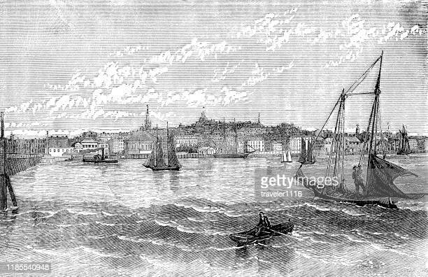 boston - boston harbor stock illustrations, clip art, cartoons, & icons