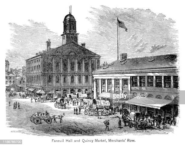 boston massachusetts faneuil hall and quincy market 1883 - faneuil hall stock illustrations, clip art, cartoons, & icons