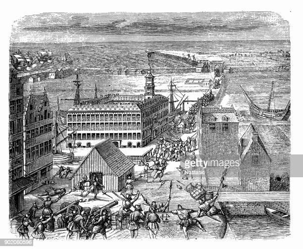 boston massacre, 1770 - american revolution stock illustrations, clip art, cartoons, & icons