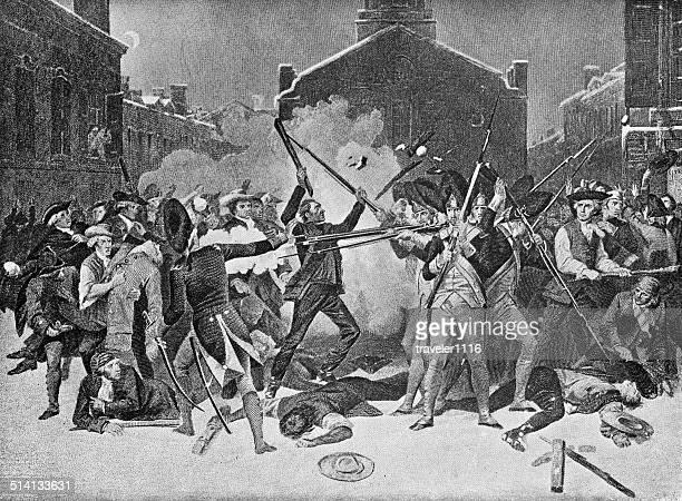 ilustraciones, imágenes clip art, dibujos animados e iconos de stock de masacre de la universidad de boston - american revolution