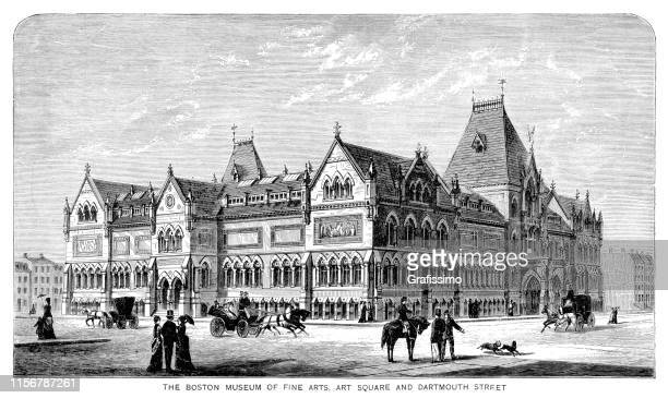 boston museum of fine arts massachusetts 1883 - boston massachusetts stock illustrations