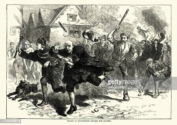 boston riots 1765, thomas hutchinson fleeing the rioters - boston massachusetts stock illustrations