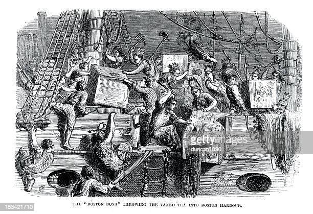 boston tea party - 18th century stock illustrations
