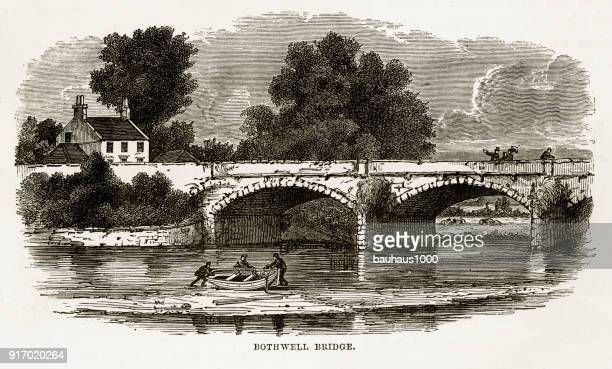 bothwell bridge, bothwell, south lanarkshire, scotland victorian engraving, 1840 - clyde river stock illustrations, clip art, cartoons, & icons