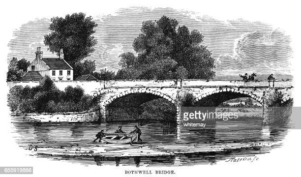 bothwell bridge, south lanarkshire, scotland (victorian engraving) - clyde river stock illustrations, clip art, cartoons, & icons