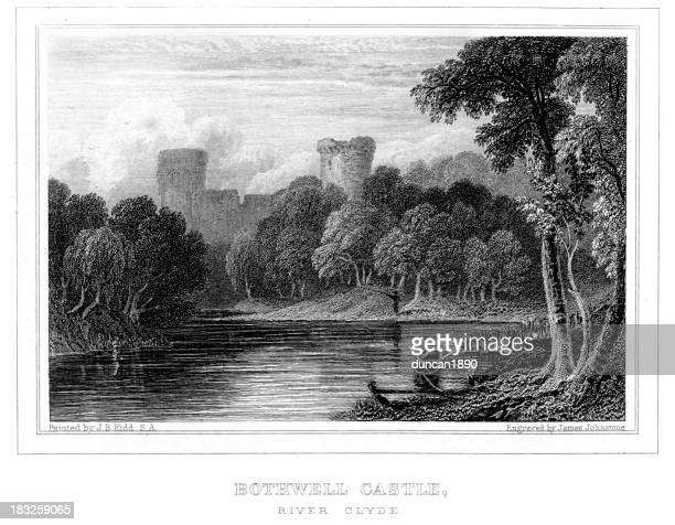 bothwell castle - clyde river stock illustrations, clip art, cartoons, & icons
