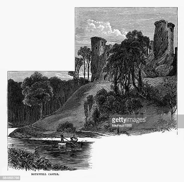 bothwell castle in south lanarkshire, scotland victorian engraving, circa 1840 - clyde river stock illustrations, clip art, cartoons, & icons