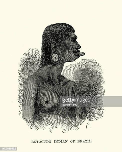 ilustrações, clipart, desenhos animados e ícones de botocudo (aimore) nativo do brasil, século xix - índia