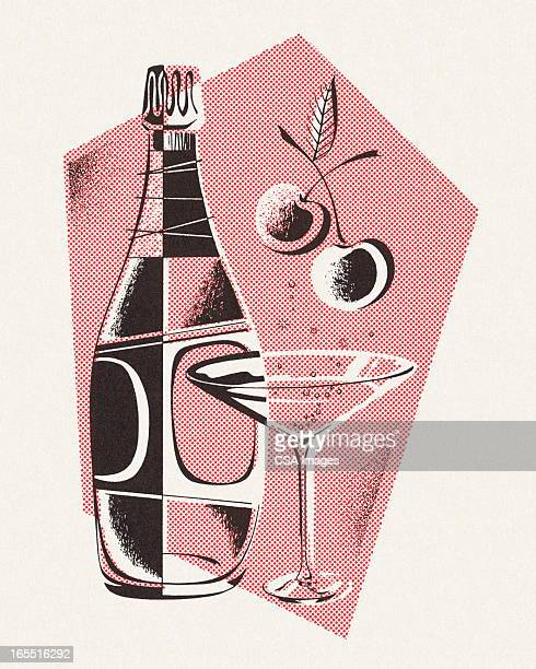 bottle and martini glass - vodka drink stock illustrations, clip art, cartoons, & icons
