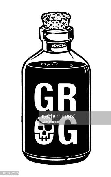 bottle of grog - whiskey stock illustrations, clip art, cartoons, & icons