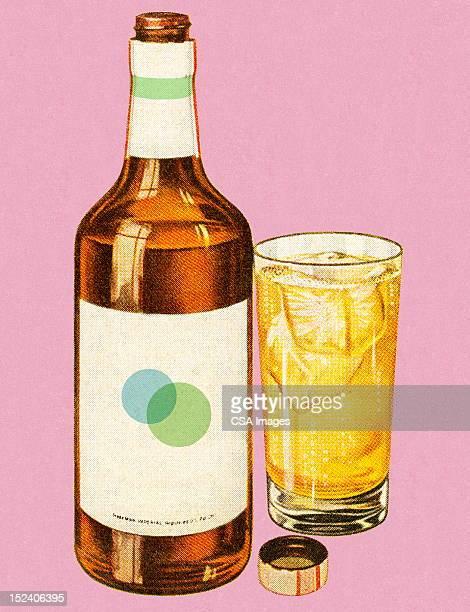 bottle of liquor and drink - whiskey stock illustrations