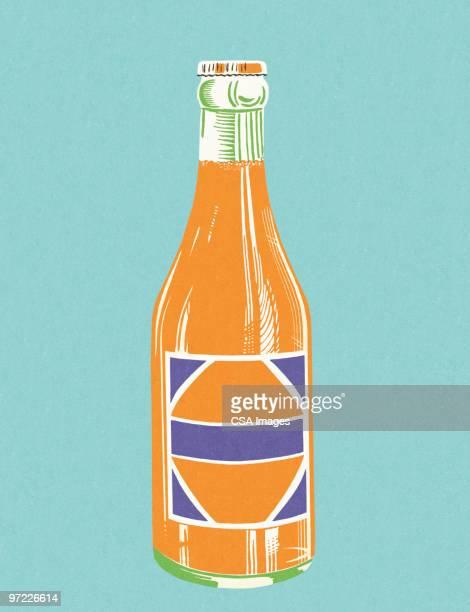 bottle of orange soda - soda stock illustrations, clip art, cartoons, & icons