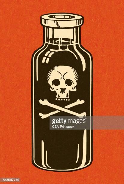 bottle of poison - potion stock illustrations