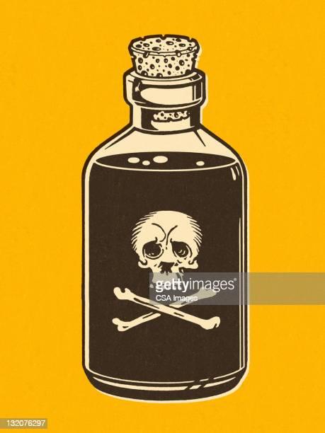 bottle of poison on yellow background - potion stock illustrations