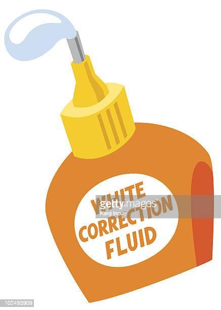 bottle of white correction fluid against white background - correction fluid stock illustrations
