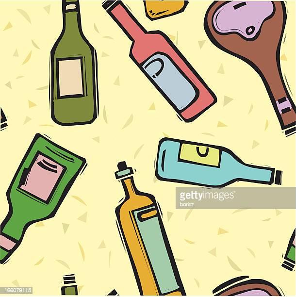 bottle pattern - brandy stock illustrations, clip art, cartoons, & icons