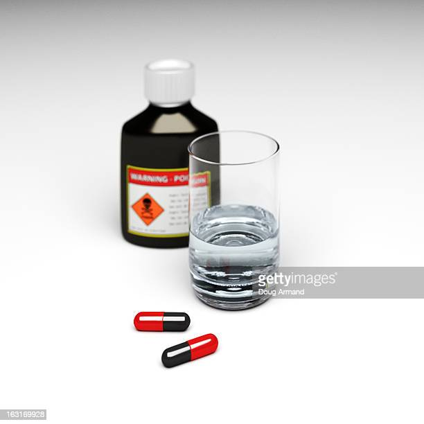 bottle & pills with glass of water - four objects stock illustrations