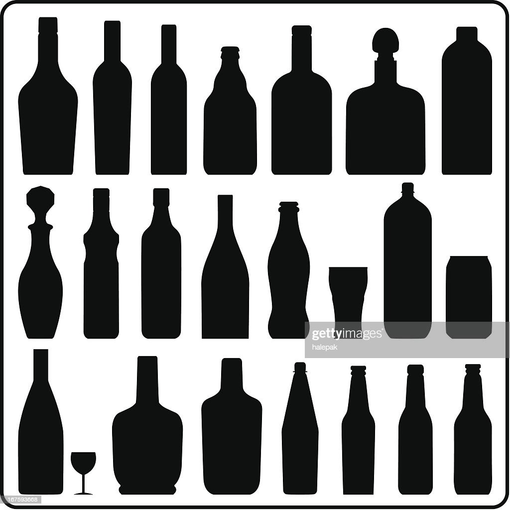 Bottle silhouettes : stock illustration
