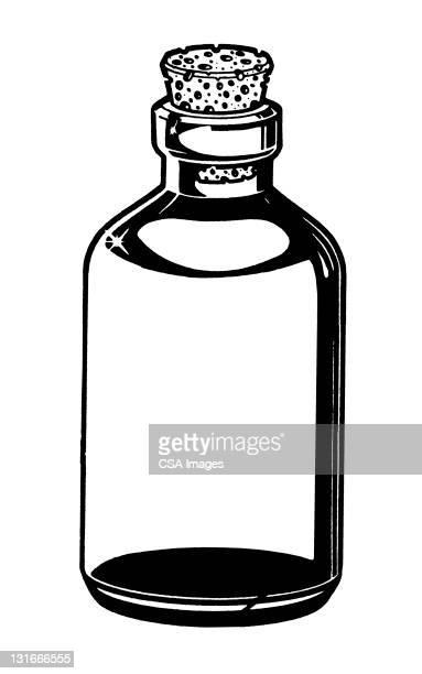 bottle with cork stopper - illustration technique stock illustrations